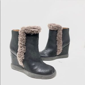 See by Chloe Shearling-Trimmed Wedge Booties 6 A7
